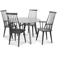 Rosvik matgrupp grått runt bord med 4 st grå Dalsland Pinnstolar - Grå