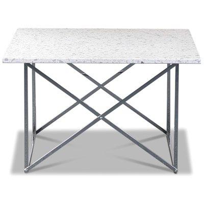 Terrazzo soffbord 75x75cm - Bianco Terrazzo & underrede cross krom