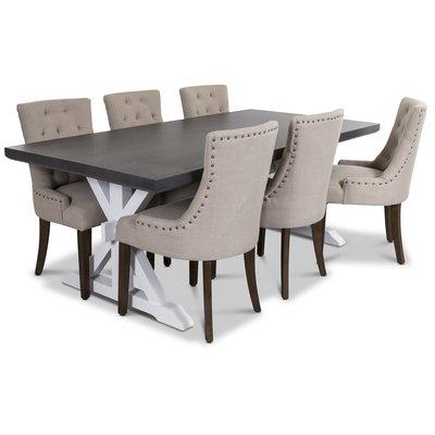 Ventos matgrupp inklusive 6 st Tuva stolar i beige tyg