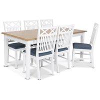 Ramnäs matgrupp - Bord inklusive 6 st Herrgård Gripsholm stolar med blå sits - Vit/ekbets