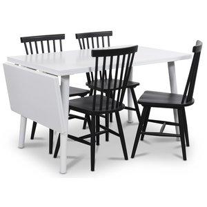 Dalsland matgrupp, Bord med klaff och 4 st svarta Karl pinnstolar