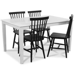 Mellby matgrupp 140 cm bord med 4 st svarta Karl pinnstolar - Vit / Svart