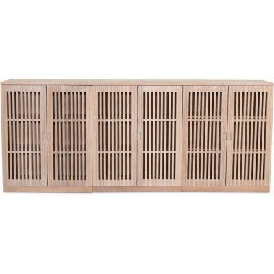 Level sideboard med dörrar i ribbor B210 cm - Whitewash