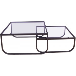 Korsbacken soffbord - Svart/glas