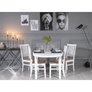 Gåsö matgrupp: Bord 160/210 cm inklusive 4 Fårö stolar - Ek/vit