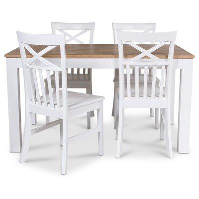 Dalarös matgrupp 140 cm bord vit/ek + 4 st Mellby stolar