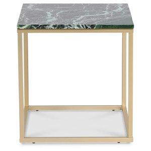 Accent soffbord 50 - Grön marmor / Matt mässing