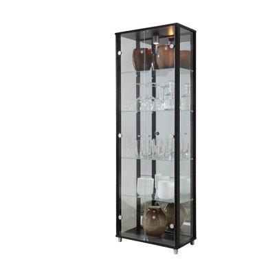 Optima vitrin & glasskåp - svart | 2 dörrar (med spegelbakstycke)