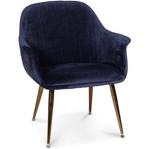 Flappy karmstol - Mörkblå sammet med mässingsben