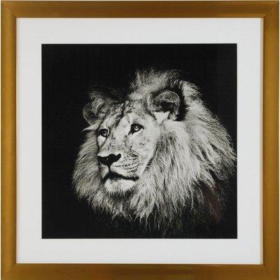 Tavla med guldram (Lejon) - 50x50 cm