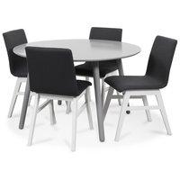 Rosvik matgrupp grått runt bord med 4 st Molly stolar grått tyg - Grå