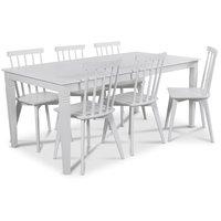 Mellby matgrupp 180 cm bord med 6 st vita Linköping Pinnstolar