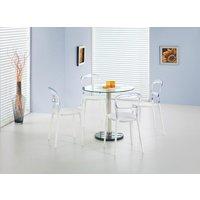 Violet bord - Transparent glas/Krom/Marmor
