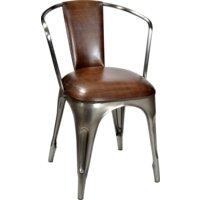 Stol Living - Läder/polerad metall