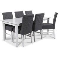 Balder matgrupp 180 cm bord med 6 st Twitter matstolar i grått tyg