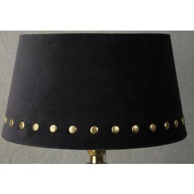 Velvet lampskärm med nitar 25 cm - Svart / mässing