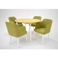 Sarek matgrupp - Bord inklusive 4 st Sarek stolar - Vit/ek