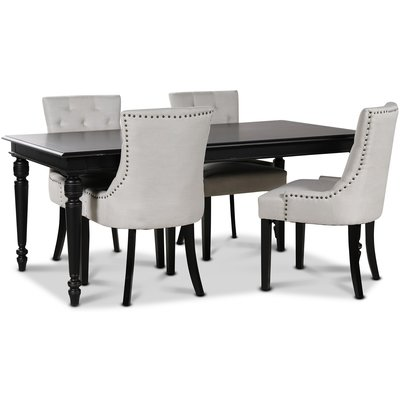 Paris matgrupp svart bord med 4 st Tuva stolar i beige tyg
