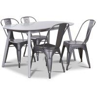 Göteborg matgrupp grått ovalt bord med 4 st Industry Plåtstolar - Grå / Metall