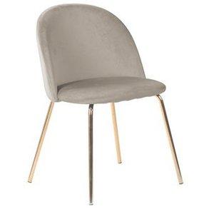 Giovani velvet stol - Gråbeige/Mässing