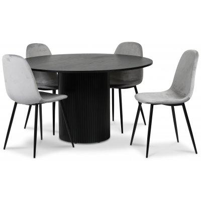 Pose matgrupp: Bord Ø130 cm inklusive 4 st carisma stolar - Svart