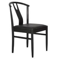 Hugo stol - Svart med svart lädersits