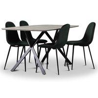 Smokey matgrupp, matbord med 4 st Carisma sammetsstolar - Mörkgrön