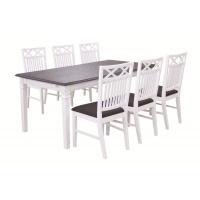 Ramnäs matgrupp - Bord inklusive 6 st stolar - Vit/brun
