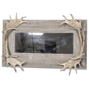 Hunter spegel med horn - Antikt trä