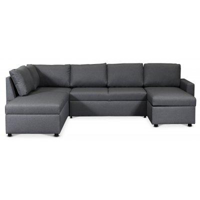 Dream bäddsoffa med förvaringar (U-soffa) vänster - Mörkgrå (tyg)