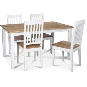 Österlen matgrupp, Klassiskt 140 cm matbord i vit/ek med 4 st Simris matstolar med eksits