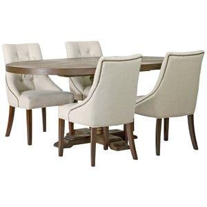 Matgrupp: Lamier matbord runt - brun + 4 st Tuva europa ver II stolar thumbnail