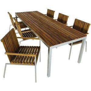 Alva matgrupp 250x90 cm inkl. 6 stolar - Teak/galvaniserad metall