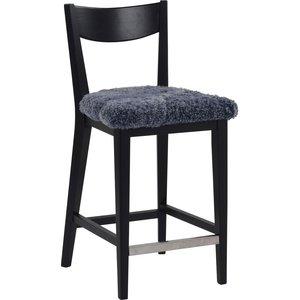 Kinley barstol - Svartbetsad ek/grått fårskinn