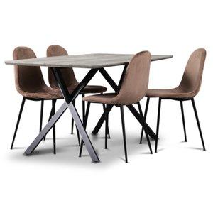 Smokey matgrupp, matbord med 4 st Carisma sammetsstolar - Rosa