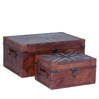 Old England kist-set i vintage läder - Antik