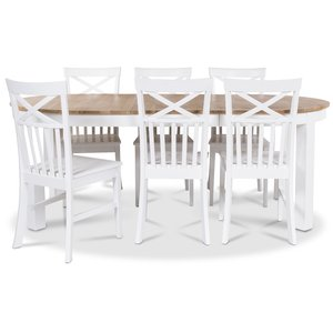 Dalarö matgrupp Ovalt bord vit/ek + 6 st Mellby stolar