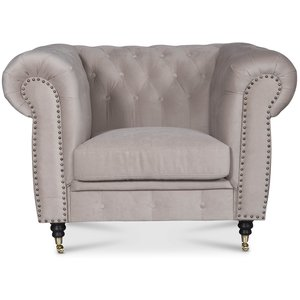 Sheffield Chesterfield Fåtölj - Beige (sammet)