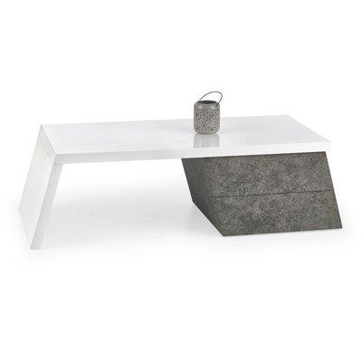 Bisera soffbord - Vit/betongmönster