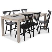 Jasmine matgrupp med bord i whitewash och 6 st svarta Karl Pinnstolar