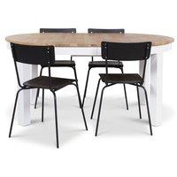 Dalarö matgrupp ovalt bord vit/oljad ek + 4 st Pluto matstolar svarta