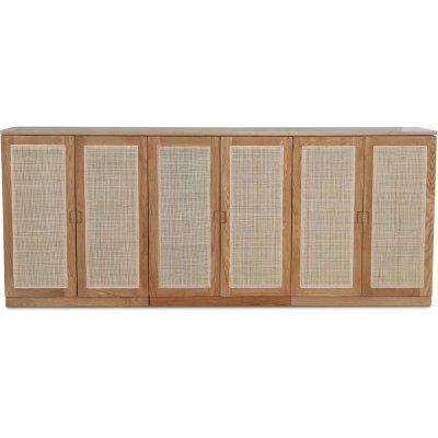 Level sideboard med dörrar i rotting B210 cm - Ek