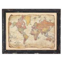 Tavla antik Världskarta - Svart ram