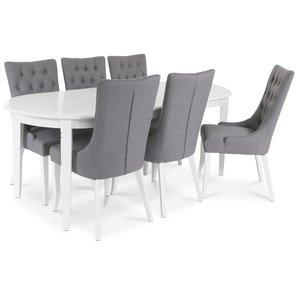 Sandhamn Matgrupp ovalt bord med 6 st Tuva Denise stolar i Grått tyg