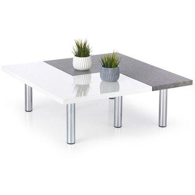 Ines soffbord - Vit/betongmönster