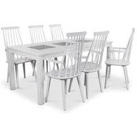 Jasmine matgrupp med vitlackat bord och 6 st vita Dalsland pinnstolar med armstöd
