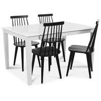 Mellby matgrupp 140 cm bord med 4 st svarta Dalsland pinnstolar - Vit / Svart