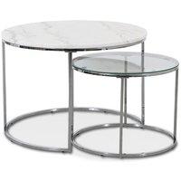 Tiffany satsbord - Vit marmor / Krom