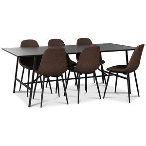 Toscana matgrupp: 206 cm bord + 6 st Atlantic Empire stolar brun PU
