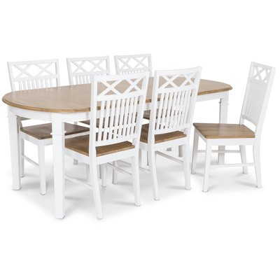 Ramnäs matgrupp - Bord inklusive 6 st Herrgård gripsholm stolar med ekbetsad sits - Vit/ekbets